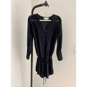 Beyond Vintage Black Lace Empire Waist Tunic Top